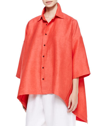 Hi-Low Short-Sleeve Shirt, Coral