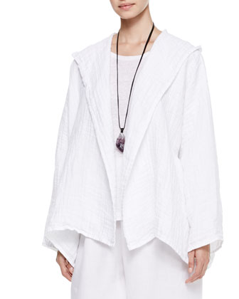 A-Line Open Hooded Coat, White