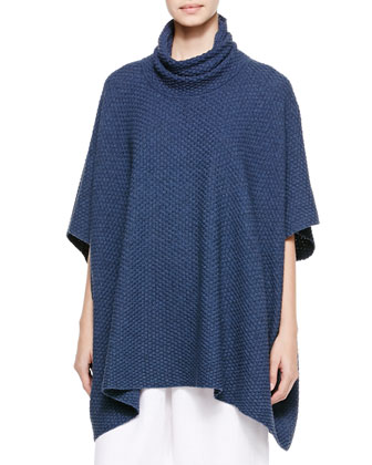 Cowl-Neck Poncho Cape, Dark Blue
