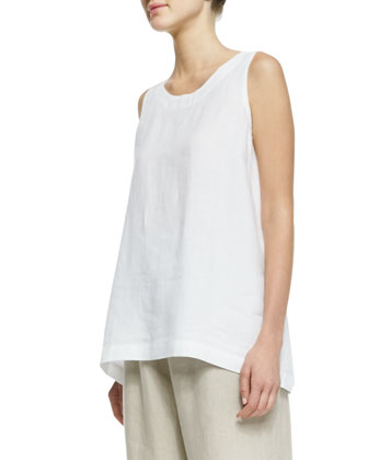 Sleeveless A-Line Linen Shell, White