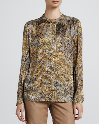 Leopard Devore Blouse, Anthracite
