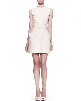 Patch-Pocket Twill Dress, Straw