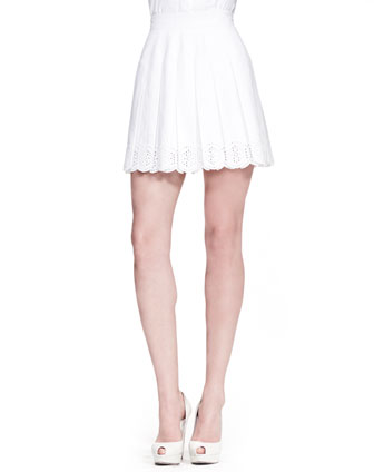 Pleated Sangallo Lace Skirt, White