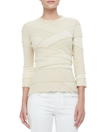 3/4-Sleeve Frayed Bandage Top
