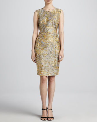 Leopard-Print Sheath Dress, Anthracite