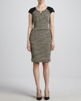 Jersey-Sleeve Tweed Dress, Anthracite/Black