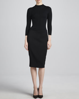 Ribbed-Bodice Dress, Black