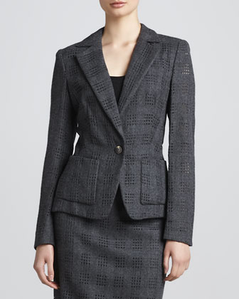 Cutout-Flannel Jacket, Anthracite