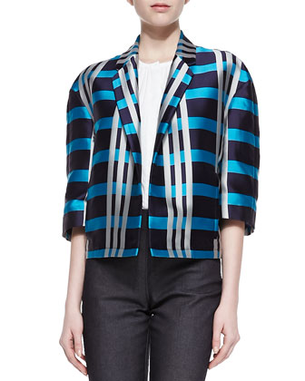 Macro Check Madras Cape Jacket, Navy/Cobalt