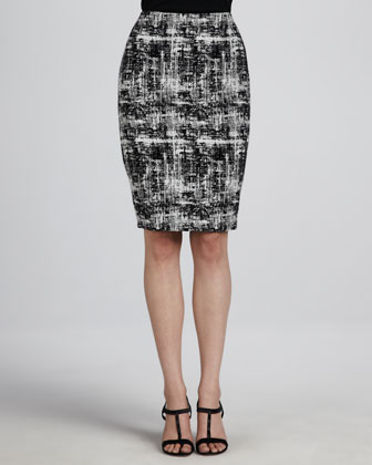 Scribble Tweed Skirt, Black/White
