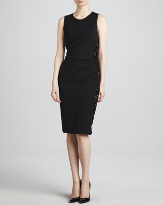 Beaded Side-Zip Sheath Dress, Black