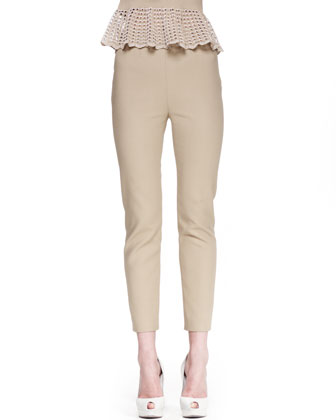 Skinny Back-Zip Pants, Khaki
