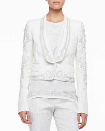 Embroidered Blazer, Milk