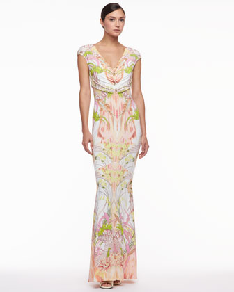 Cap-Sleeve Printed Jersey Gown, White/Pink/Green