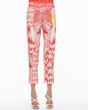 Mixed-Print Pants, Coral/Multicolor
