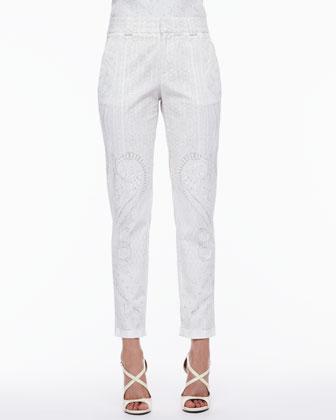 Skinny Tonal-Print Pants, White