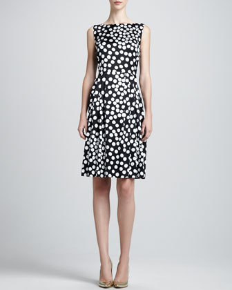 Sleeveless Dot-Print Bateau Dress, Caviar/Multi