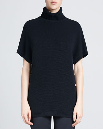 Basketweave Blend Short-Sleeve Sweater, Caviar