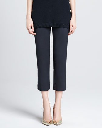 Audrey Side-Zip Capri Pants, Caviar