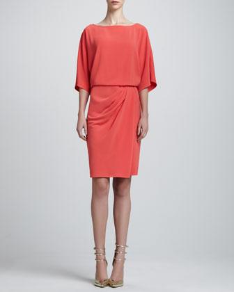 Luxe Crepe Kimono-Sleeve Wrap Dress, Hibiscus