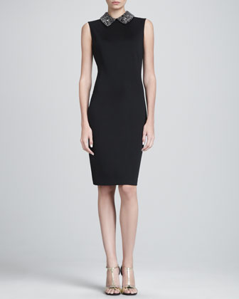 Sateen Milano Knit Sheath Dress with Beaded Collar, Caviar