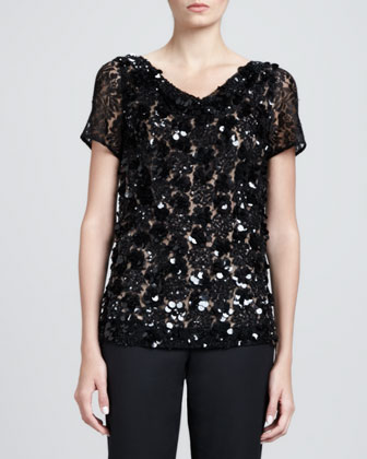 Hand-Beaded Cowl-Neck Top, Caviar