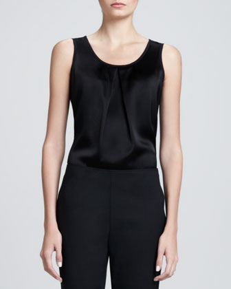 Sleeveless Pleated-Neck Shell, Caviar
