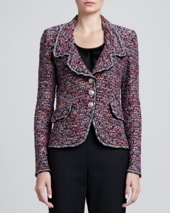 Sequined Metallic Fleck Tweed Knit Jacket, Hibiscus