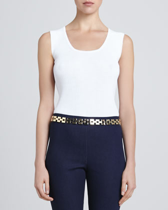 St. John Box Link Chain Waist Belt, Light Golden