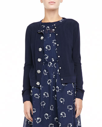 Ribbed Flower-Button Cardigan & Printed Pleated Slip Dress