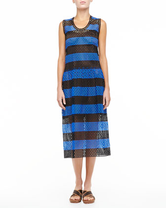 Circle-Cutout Striped Dress