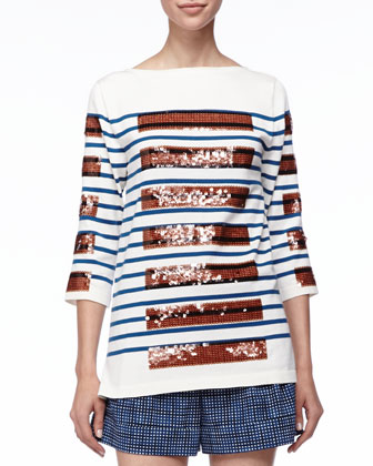 Sequined-Stripe Bateau Tunic