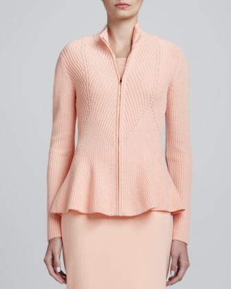 Rib Knit Bomber with Peplum, Peach
