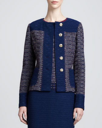 Textured Space Dyed Tweed Knit Jacket and Degrade Textured Sheath ...