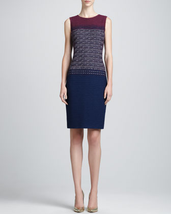 Textured Jewel-Neck Sheath Dress, Marine/Blue