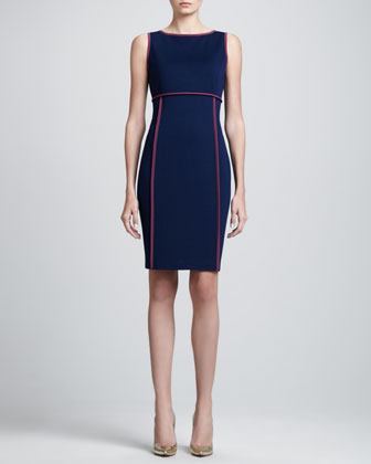 Milano Bateau-Neck Dress, Marine Blue