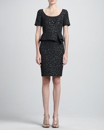 Tulip Cloque Dress with Peplum, Caviar/Multi