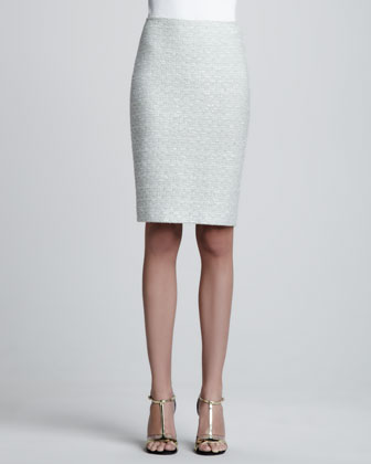 Crystalline Tweed Pencil Skirt, Aloe/Multi