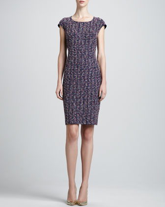 Tweed Scoop-Neck Sheath Dress, Marine/Multi