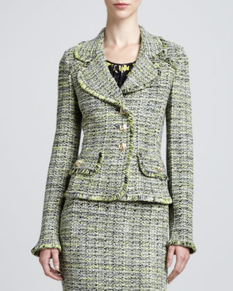 Layered Leaves Tweed Jacket, Pencil Skirt & Layered Scoop-Neck Blouse