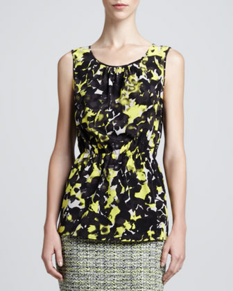 Layered Scoop-Neck Blouse, Limestone/Multi
