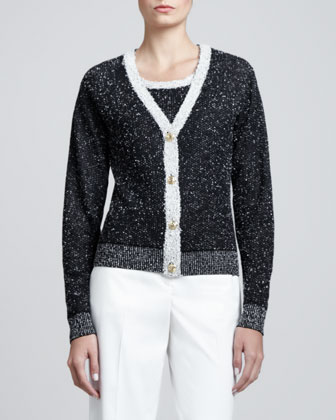 Bird's Eye V-Neck Cardigan, Caviar/White