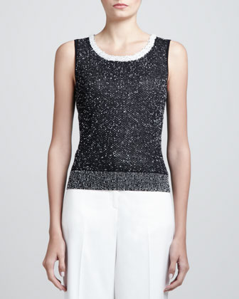 Bird's Eye Knit Scoop-Neck Shell, Caviar/White