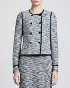 Convertible Fleck Tweed Double-Breasted Jacket, Caviar/Multi