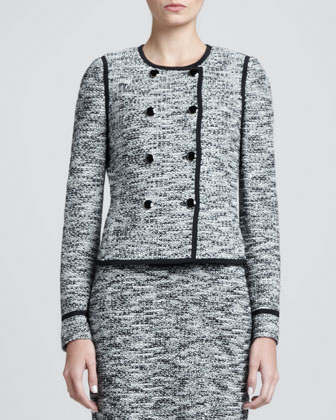 Fleck Tweed Double-Breasted Jacket & Sleeveless Shift Dress