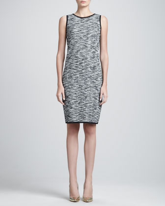 Sleeveless Fleck Tweed Shift Dress, Caviar/Multi