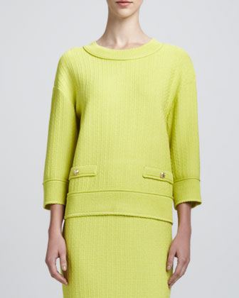 Linked Grid Sweater with Pockets, Chartreuse