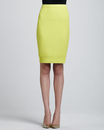 Linked Grid Pencil Skirt, Chartreuse