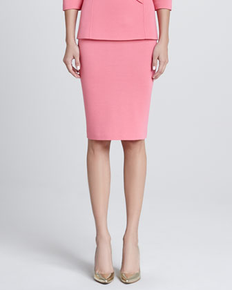 Milano Knit Pencil Skirt, Flamingo