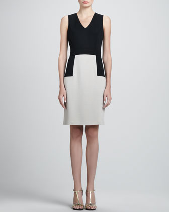 Sleeveless Milano Colorblock Dress, Caviar/Limestone